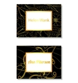 Floral business card black and golden vector image