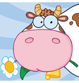 Cow Head Carrying A Flower In Its Mouth vector image