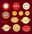 set of fries variety tag label emblem or sticker vector image