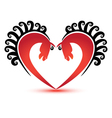 Horses and heart shape logo vector image vector image