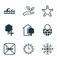 set of 9 eco-friendly icons includes snow sun vector image