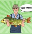 pop art fisherman with big fish good catch vector image vector image