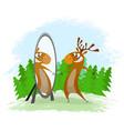 elk with mirror vector image