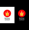 emblem with golden crown on red round form vector image
