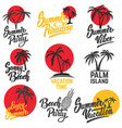set of summer emblems with palm trees design vector image