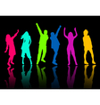 silhouette people party dance vector image vector image