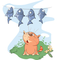 fish and Cat Cartoon vector image