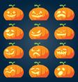 Set of halloween pumpkin faces vector image