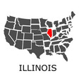 state of illinois on map of usa vector image