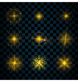 Shine gold stars glitters sparkles vector image