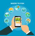 fishing area finder concept vector image