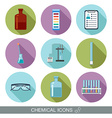 Chemical icons Flat design with shadows vector image
