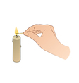 Hand With Candle And Match Stick vector image