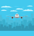plane in front of city silhouette realistic vector image