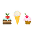 set pixel sweets vector image
