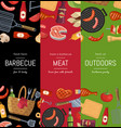 vertical banner templates for barbecue or vector image