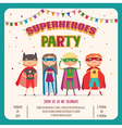 Superhero Card invitation with group of cute kids vector image