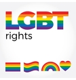 LGBT support symbols with lettering in rainbow vector image