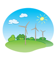 wind power turbines and green nature with sun vector image