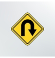 Hairpin curve warning icon vector image