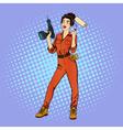 Woman in Uniform Woman Doing Repairs vector image