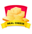 Label design with real cheese vector image