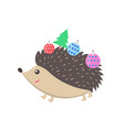 little happy hedgehog icon vector image