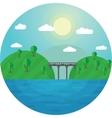 Round landscape bridge between vector image