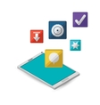 tablet with internet related icons image vector image