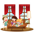 Three girls reading books in living room vector image