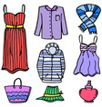 clothes set object for women of doodles vector image