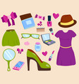 summer girl clothing and accessories vector image