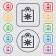 shopping bag icon sign symbol on the Round and vector image