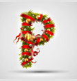 christmas font letter p of christmas tree vector image