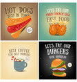 coffee fast food ice cream posters vector image