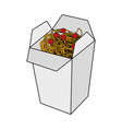color image cartoon box with noodles food vector image