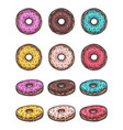 donut set isolated on a white background vector image