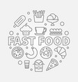 fast food round symbol outline vector image