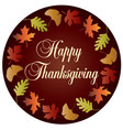 happy thanksgiving circle with gradient leaf frame vector image