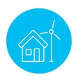 House with windmill line icon vector image