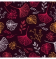 Leaf flowers and herbs seamless pattern vector image