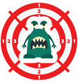 target with green monster flat style vector image