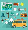 Tourist Equipment Set of Icons and in Flat Design vector image
