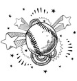 doodle pop baseball vector image vector image