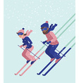 Young couple skiing vector image