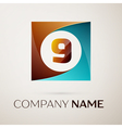 Number nine logo symbol in the colorful square on vector image
