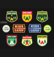 set of kids adventure summer camp emblem or badge vector image