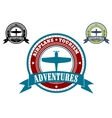 Airplane Tourism emblems vector image vector image