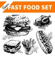 Fast food set Hand drawn sketch vector image vector image