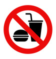 No eating and no drinks allowed vector image